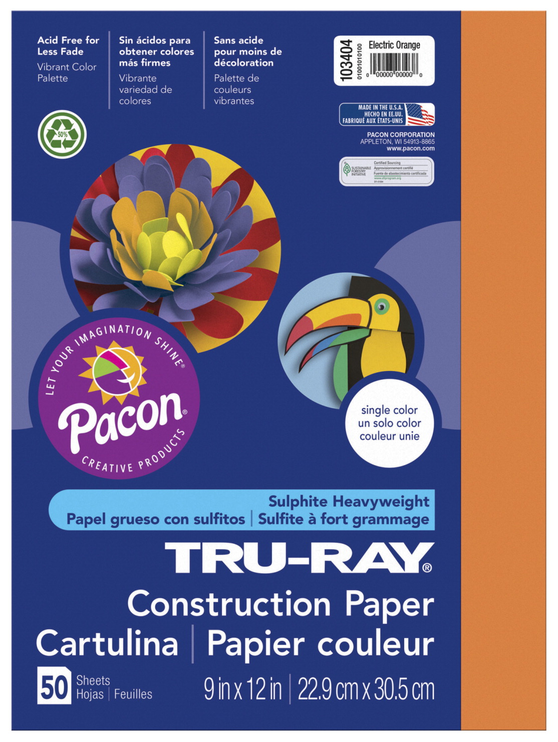 Tru-Ray Sulphite Construction Paper, 9 x 12 Inches, Electric Orange, 50 Sheets