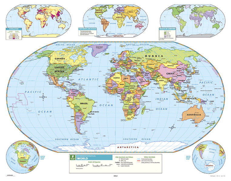 Map Of Canada For Elementary Students.Nystrom Intermediate World Map