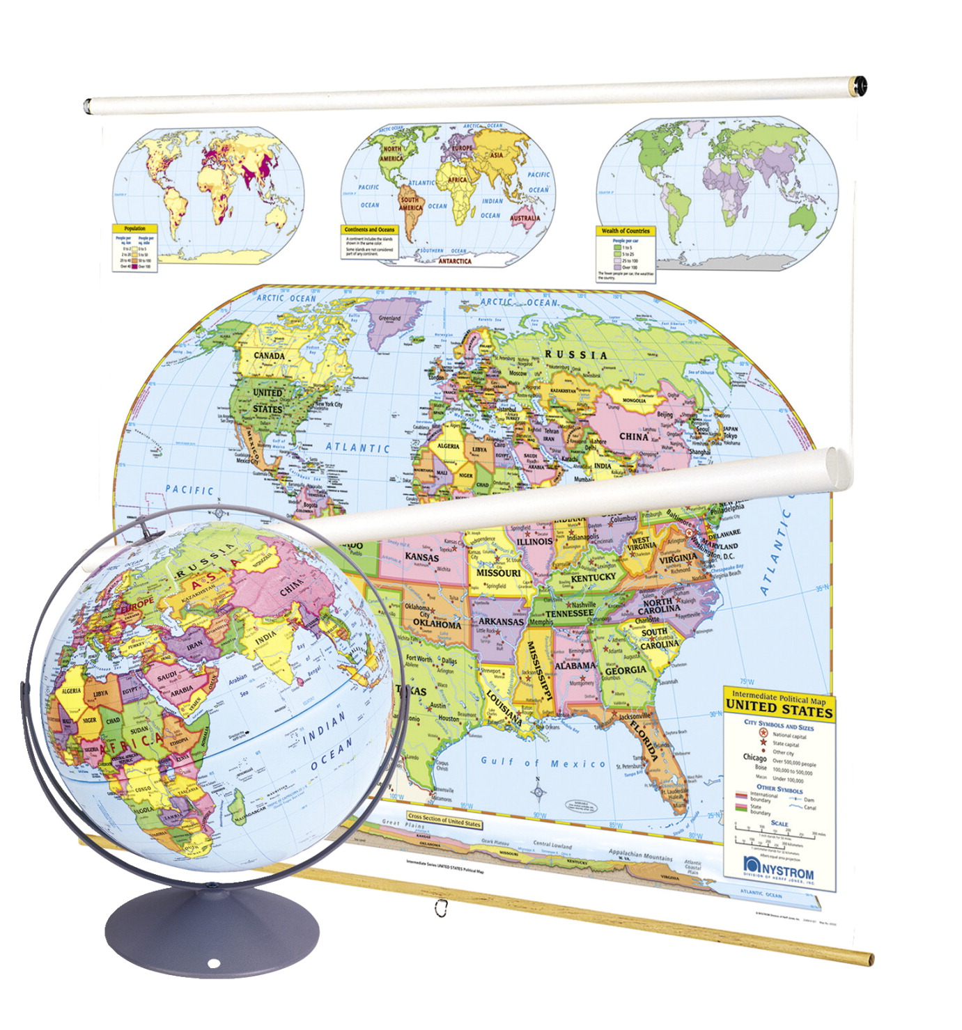 Map Of Canada For Elementary Students.Nystrom Political U S And World Combo Map Classroom Pack With Globe