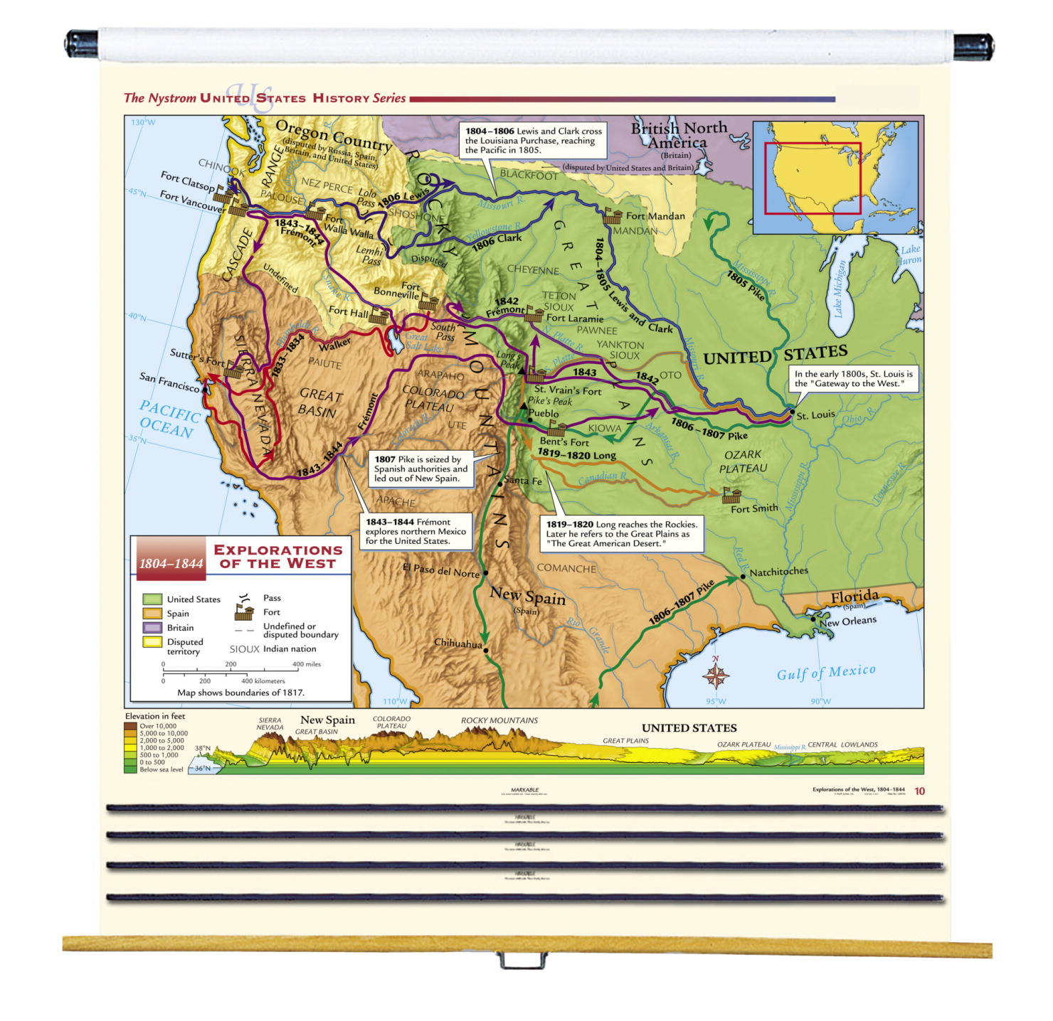 Full Map Of Spain.Nystrom Complete United States History Maps With Spring Roller