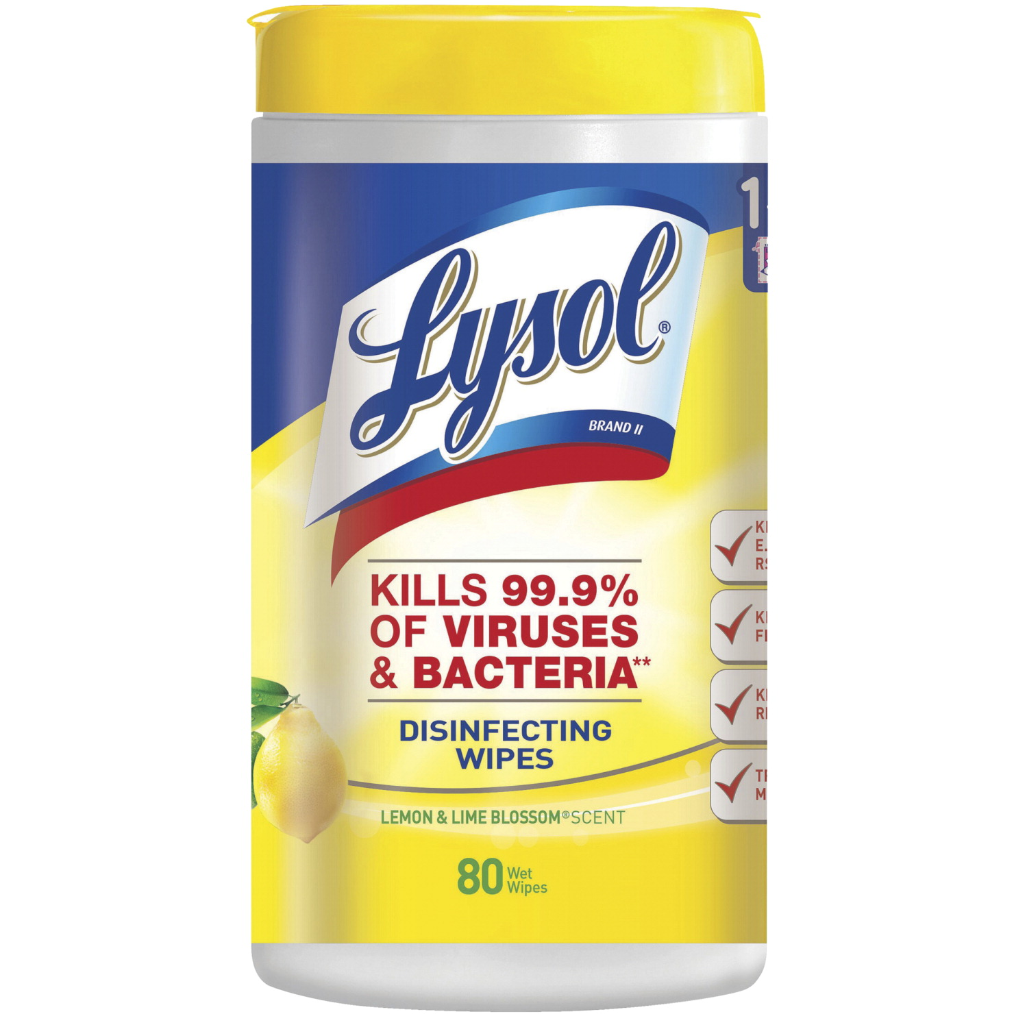 Lysol Disinfecting Wipes, 80 Wipes Per Tub, Lemon and Lime Blossom Scent
