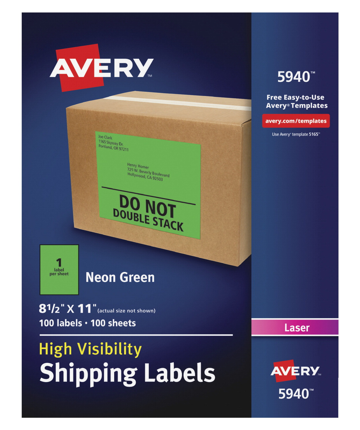 avery high visibility neon shipping labels 8 1 2 x 11 in 100 sheets