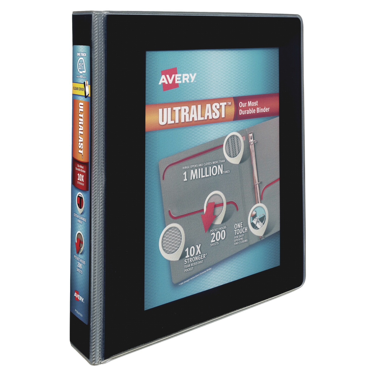 avery ultralast one touch slant ring view binders 1 1 2 in capacity