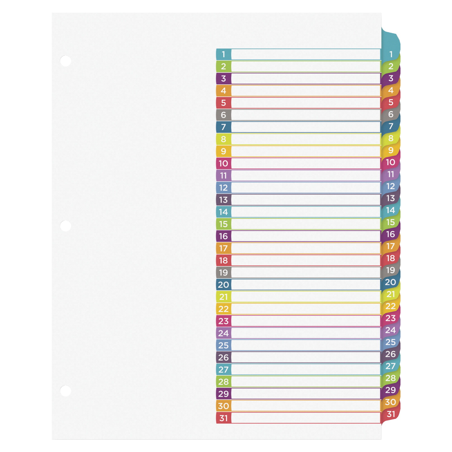 Avery ready index 1 31 tab dividers 31 tabs multiple for Index divider templates