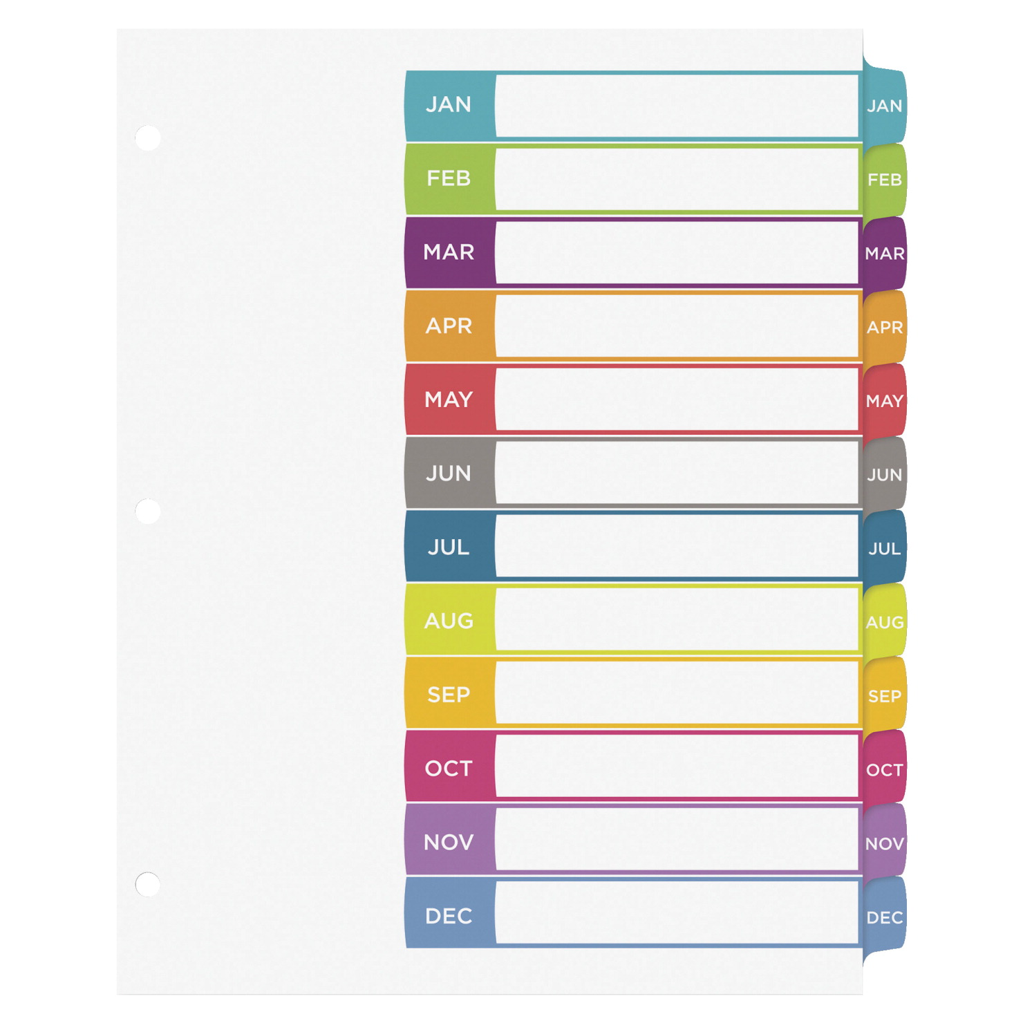 Avery ready index jan dec tab dividers multiple colors for 12 tab divider template