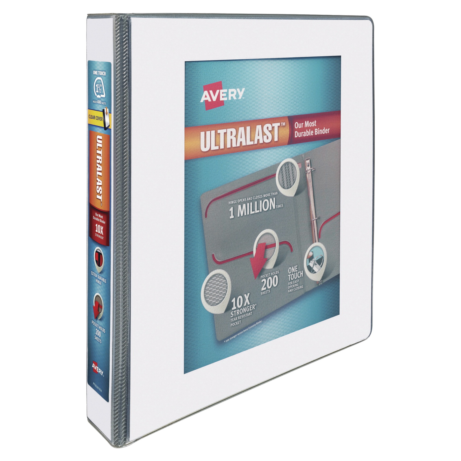 Avery UltraLast One Touch Slant Ring View Binders, 1-1/2