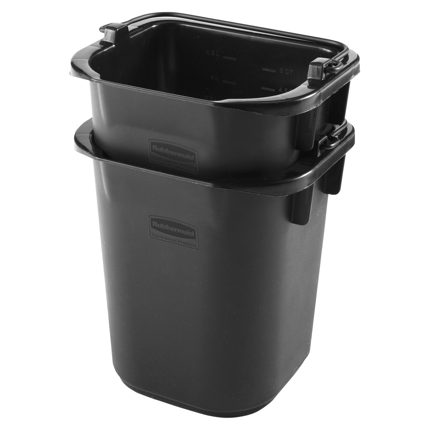Rubbermaid Commercial Executive 5 Quart Heavy-Duty Pail, 9 x 8-1/2 x 7-1/2 Inches, Black