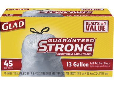 clorox glad strong 13 gal tall kitchen trash bags 2 ft x 2 1 4 ft x 1 ml white school. Black Bedroom Furniture Sets. Home Design Ideas