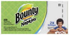 Procter & Gamble Bounty Everyday Napkins, 1-Ply, 12-1/10in x 12in, White, Carton of 2,000