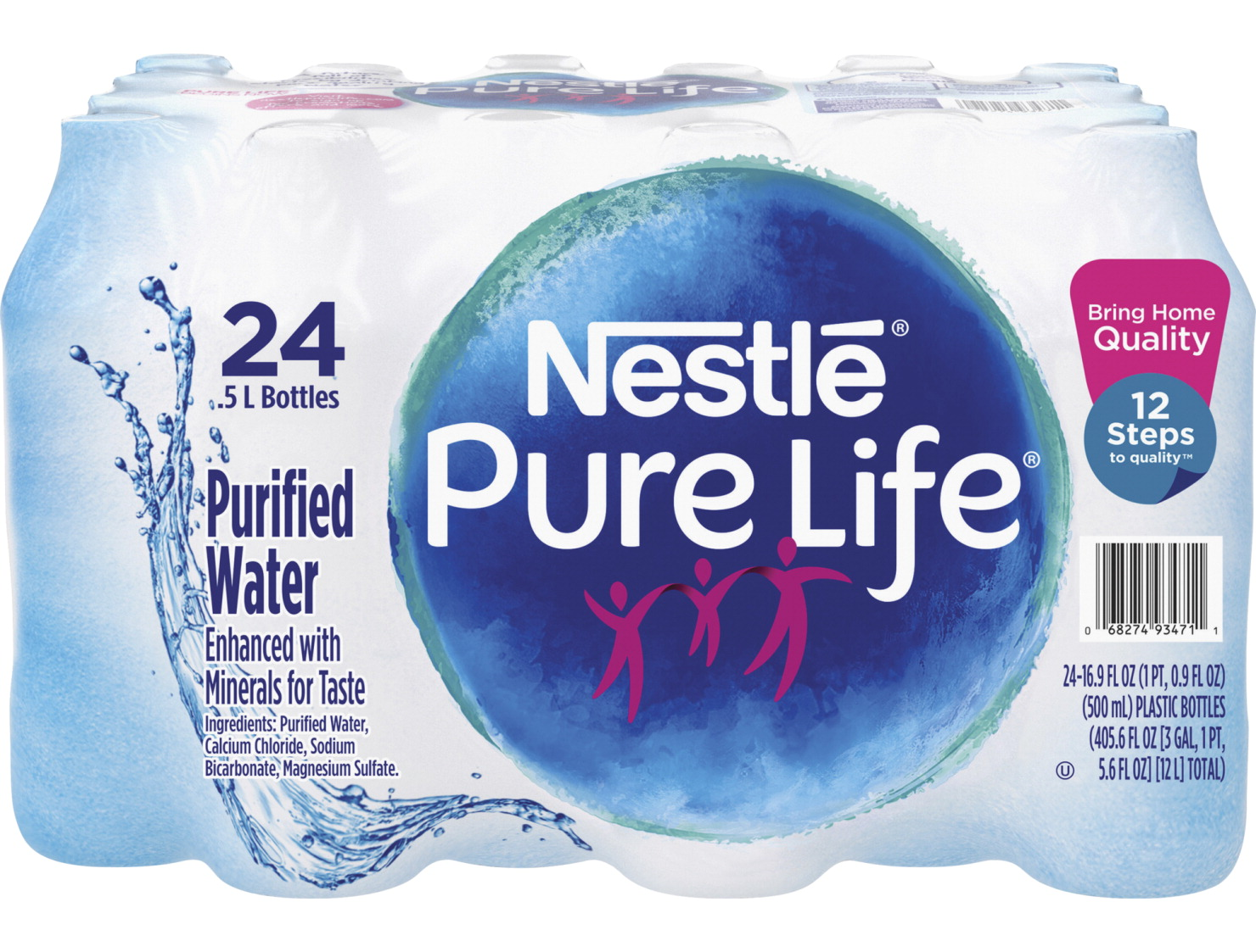 Nestle Pure Life Purified Bottled Water, 16 9 Ounce Bottles, Carton of 24