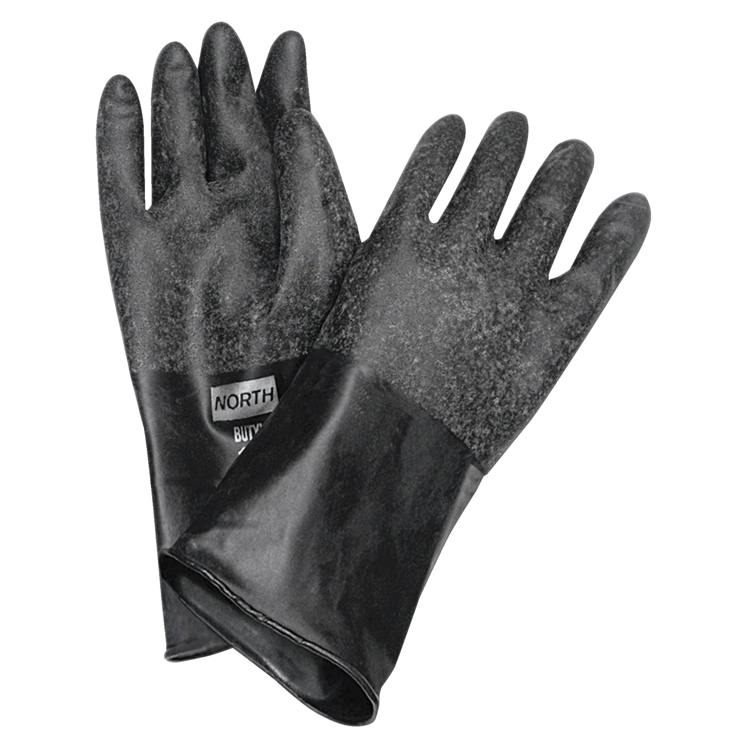 Northern Safety Unsupported Butyl Chemical Protection Gloves, 14 in, Size 8, 17 mil, 1 pair, Black