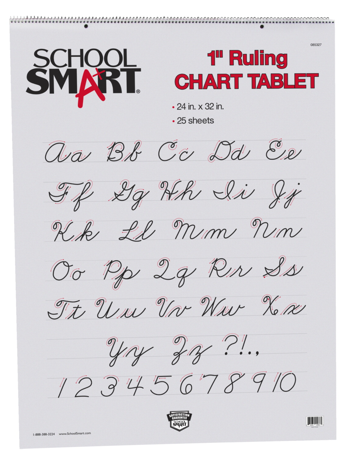 School Smart Chart Paper Pad, 24 x 32 Inches, 1 Inch Rule, 25 Sheets