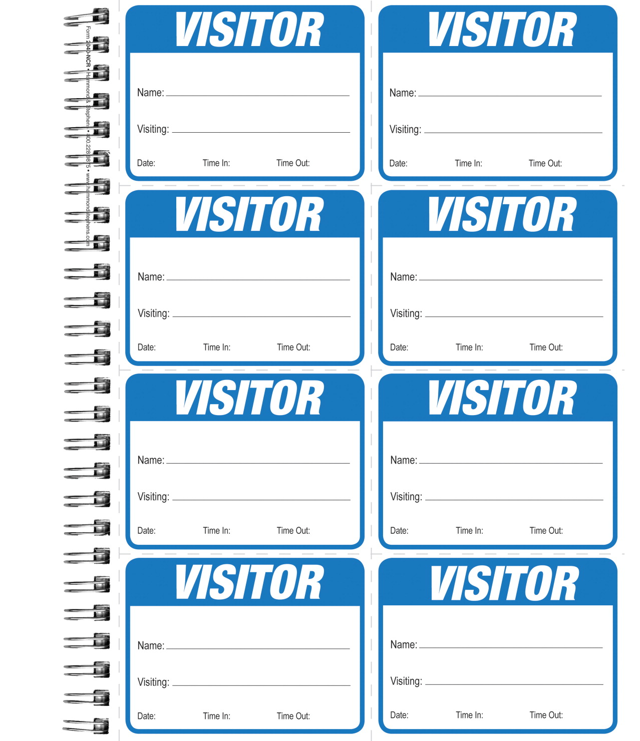 Hammond & Stephens 2040 NCR Wirebound Visitor Log Book with 200 Adhesive Badges, 8-1/2 x 11 Inches