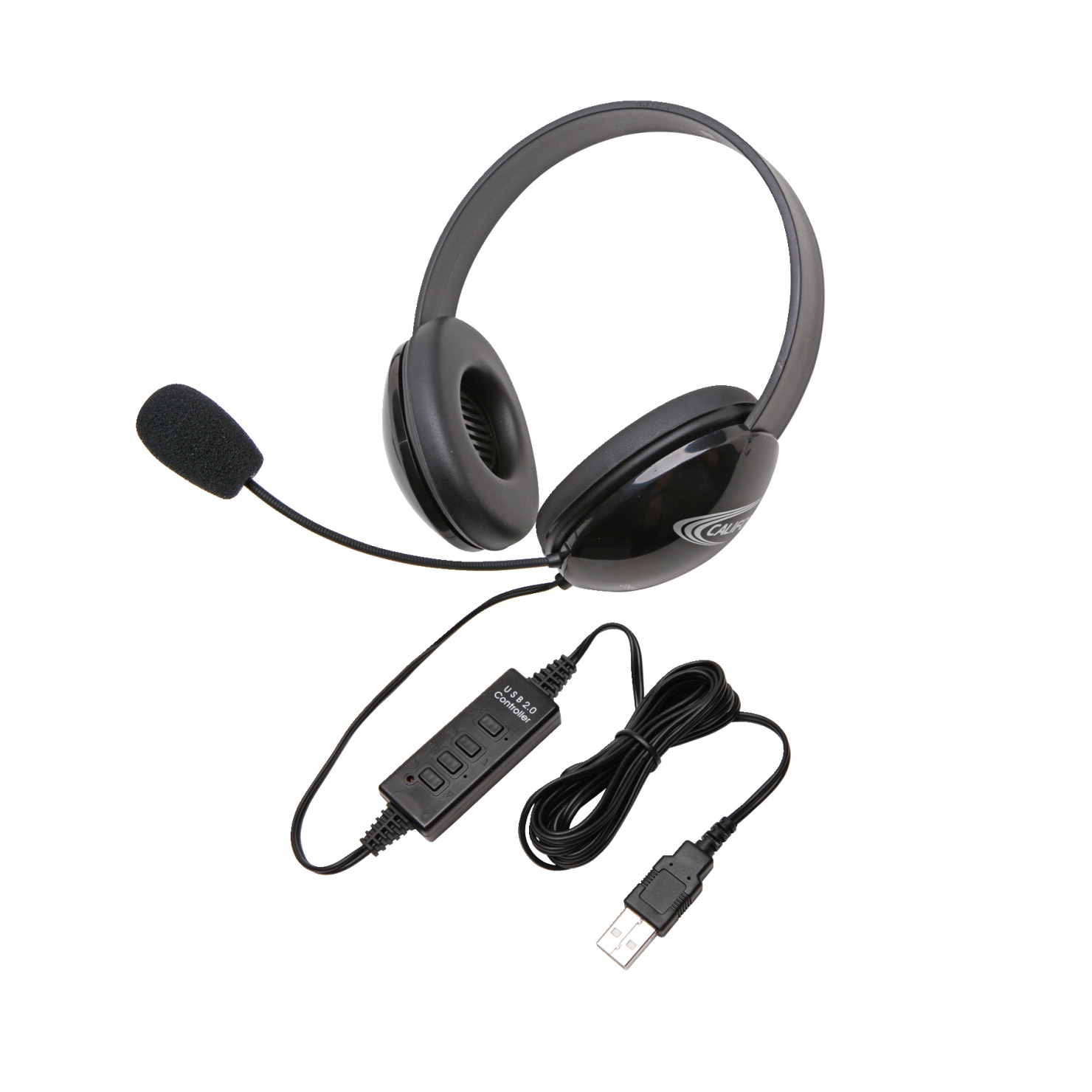 Califone Listening First 2800BK-USB Over-Ear Stereo Headset with Gooseneck Microphone, USB Plug, Black, Each