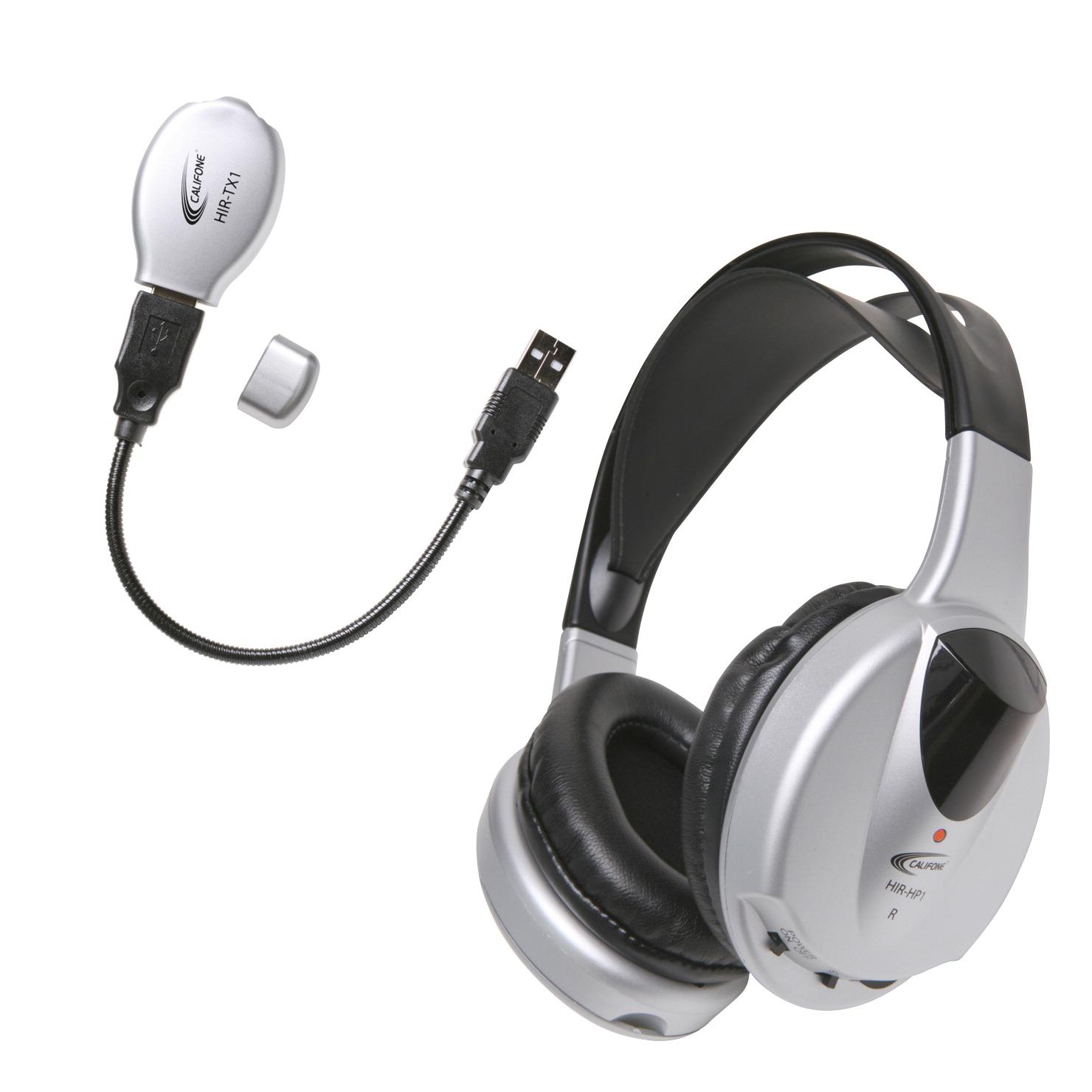 Califone HIR-KT1 Wireless Stereo/Mono Headphones with USB Transmitter, 2.3 Hz - SCHOOL SPECIALTY ...