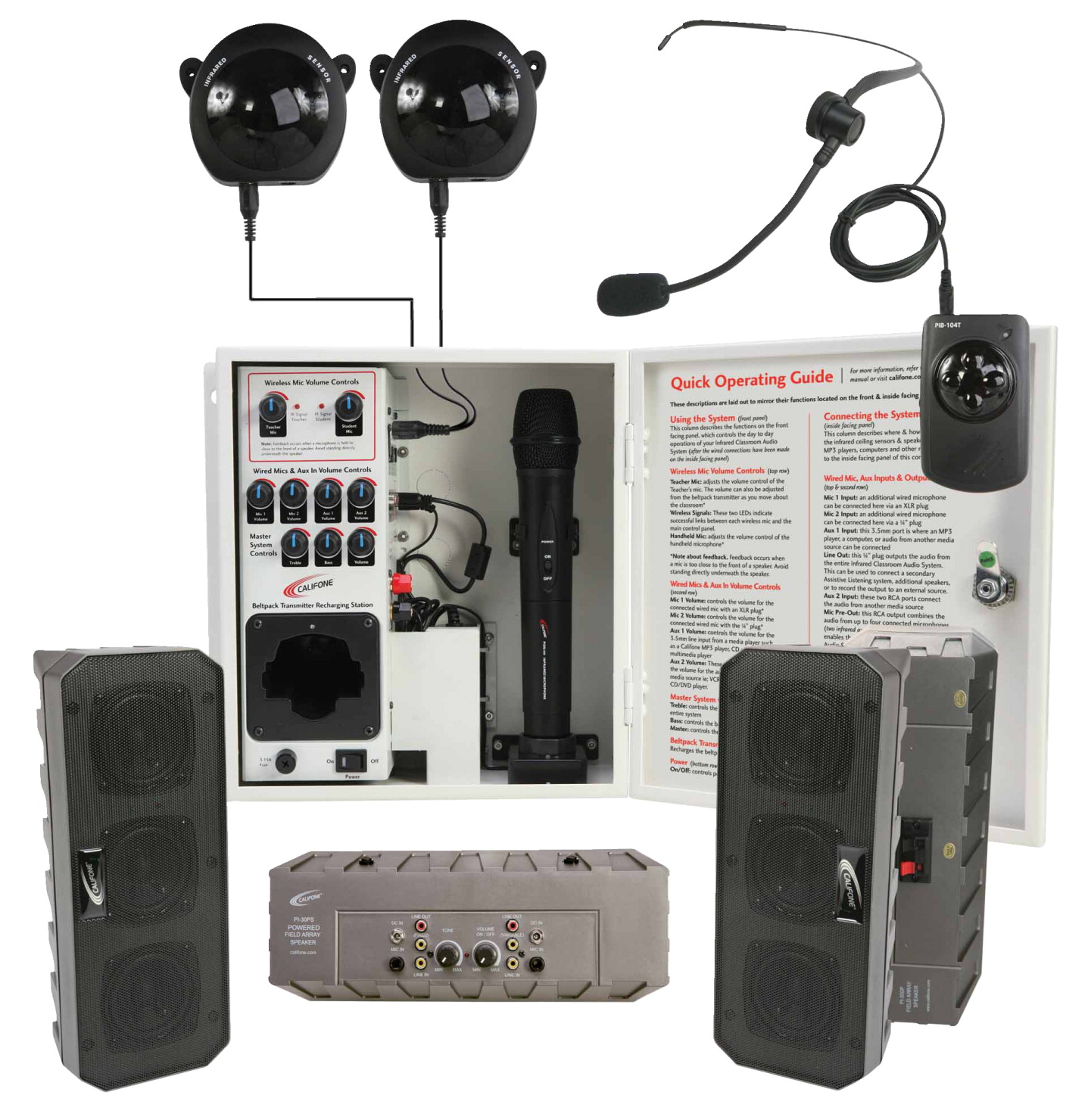 Califone PA-IRSYSB Classroom Ceiling Infrared 60 W Audio System with 4 Array Speakers