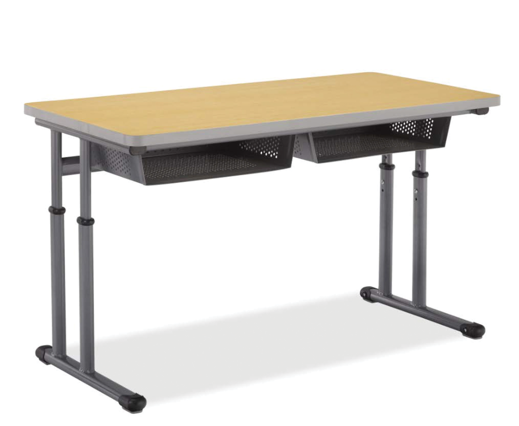Two Student Dual Post Pedestal Leg Desk