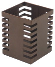 Lorell Stamped Metal Square Pencil Cup, 3-1/4 x 3-1/4 in, Bronze