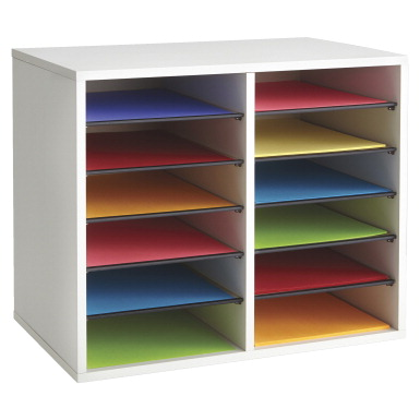 Safco Adjustable 12 Slot Wood Literature Organizer 19 1 2