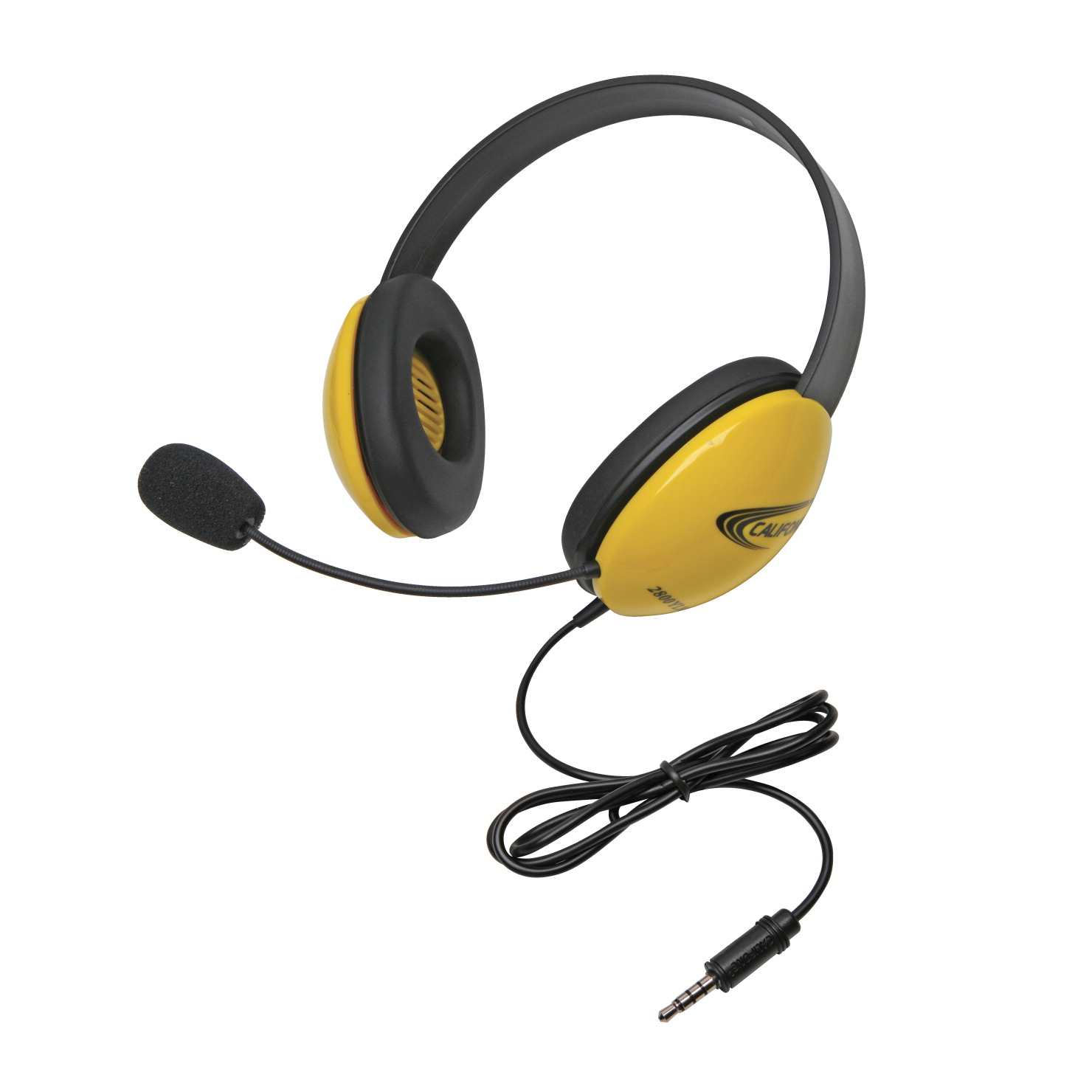 Califone Listening First 2800-YLT Over-Ear Stereo Headset with Gooseneck Microphone, 3.5mm Plug, Yellow, Each