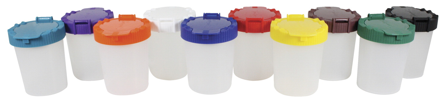 Sargent Art No-Spill Paint Cup with Lids, 7 oz, 3-3/4 Inches, Assorted Color, Set of 10