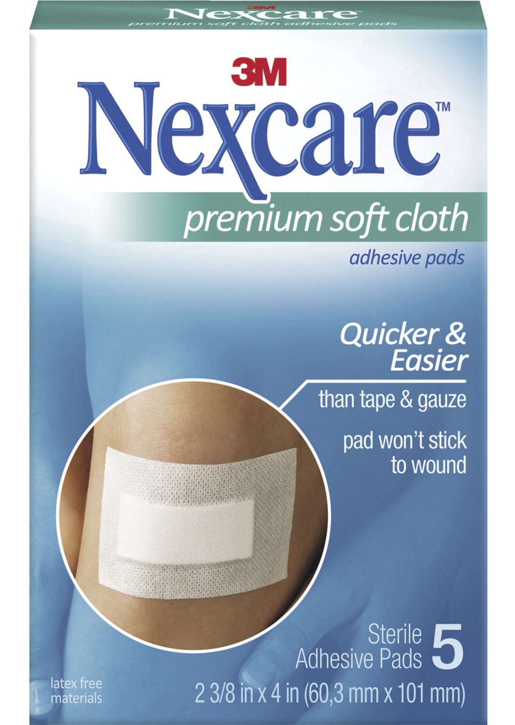 3m nexcare soft cloth premium adhesive gauze pad 3 ply 5 per pack