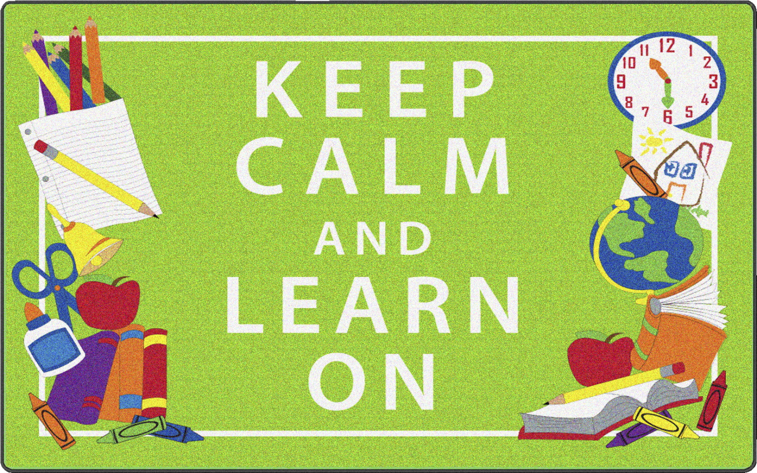Flagship Carpets Keep Calm And Learn On Rug, Green, 4 x 6 ft, Rectangle