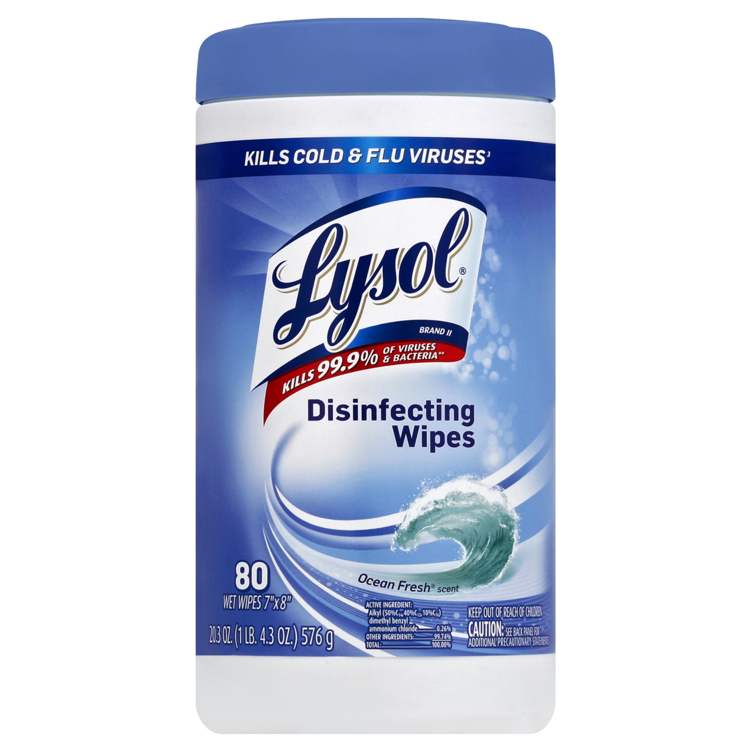 Lysol Spring Ocean Fresh Scent, Disinfecting Wipes, 80 Count, Case of 6