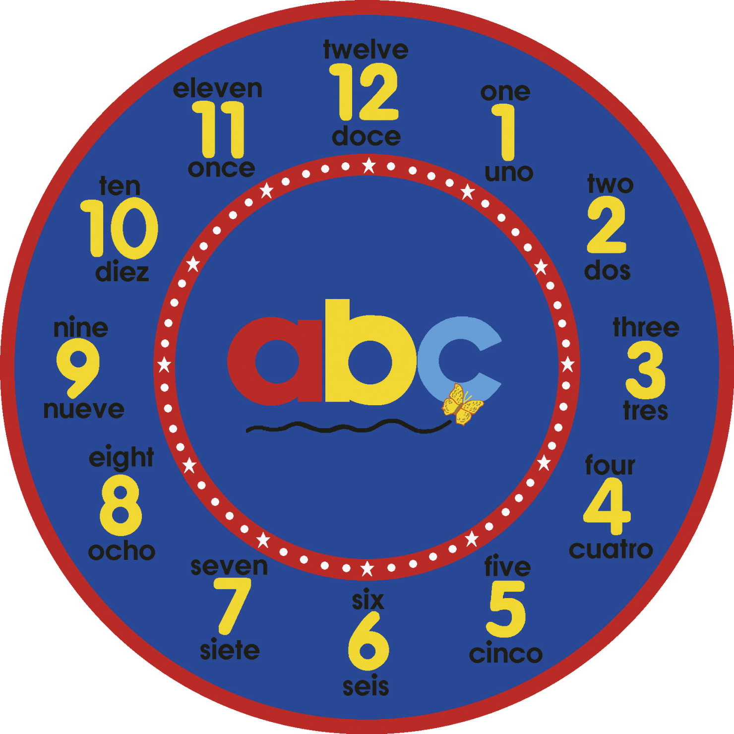 Carpets For Kids ABC Bilingual Clock Rug