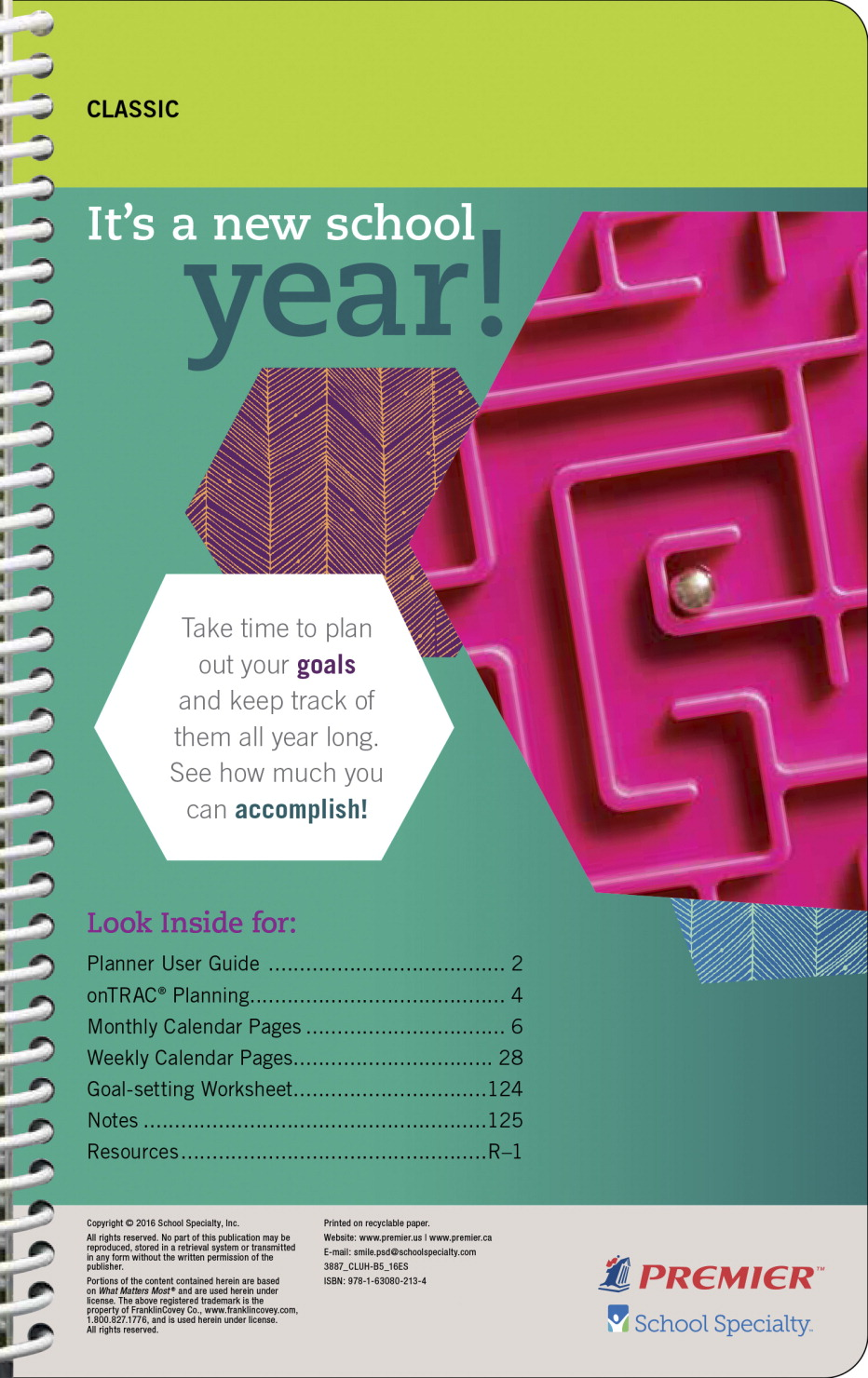 Premier Classic High School Student Planner Undated 152 Pages 5 X
