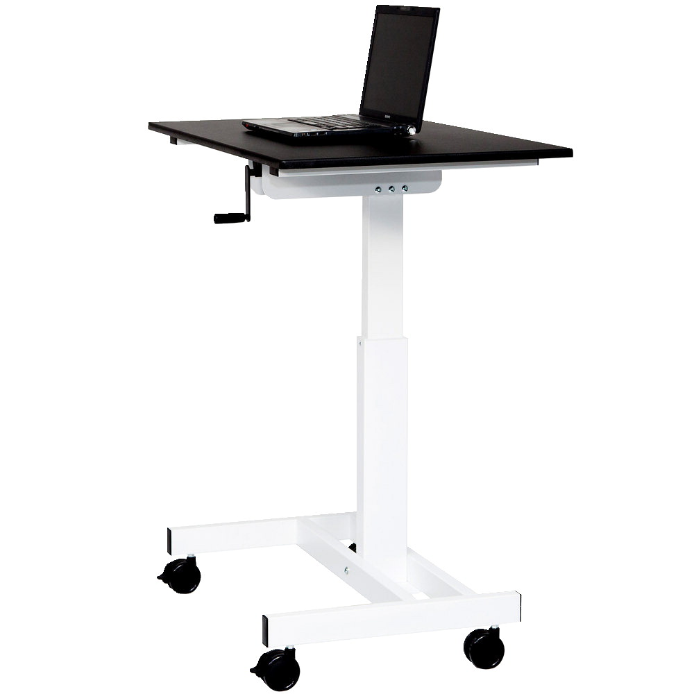 Luxor Stand Up Desk Single Column, Crank Height Adjustable 30 to 45-1/4 Inches, Black Top with White Frame