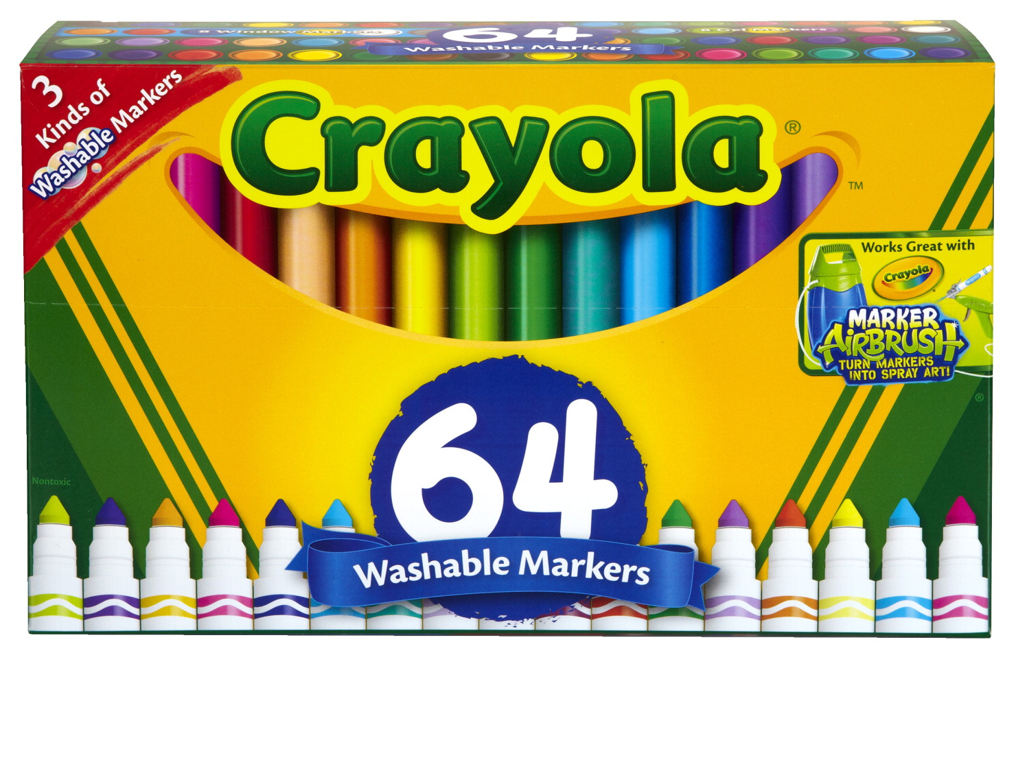 Crayola Washable Broad Line Markers Variety Pack 3 Types Set Of 64