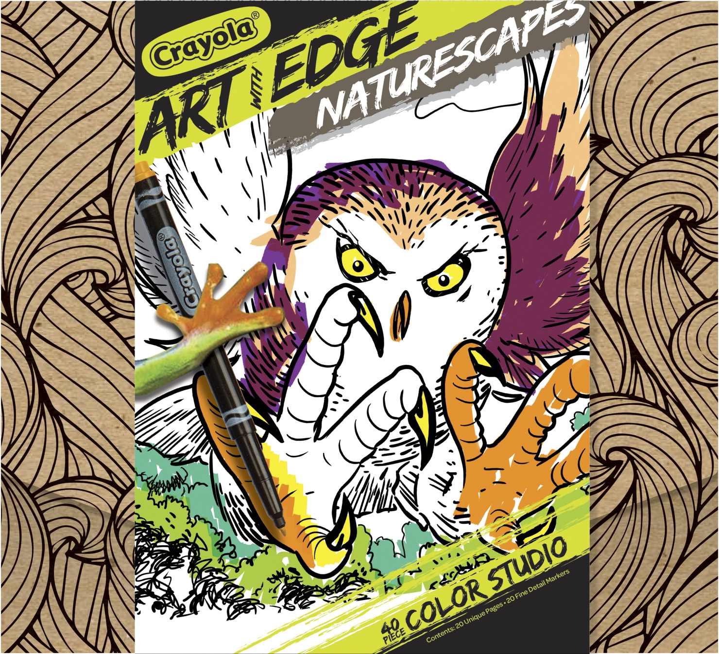 Crayola Art With Edge Naturescapes Coloring Set, 20 Sheets, 20 Fine Line Markers
