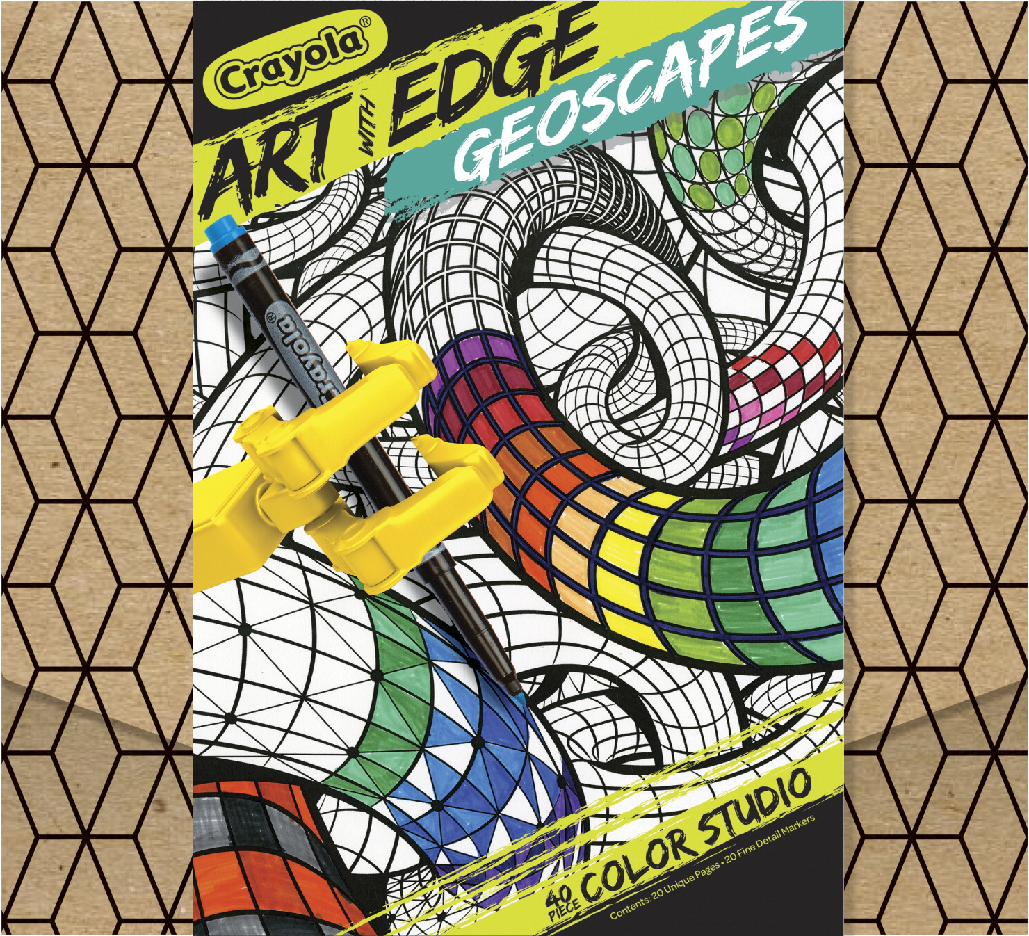 Crayola Art With Edge Geoscapes Coloring Set, 20 Sheets and 20 Fine Line Markers