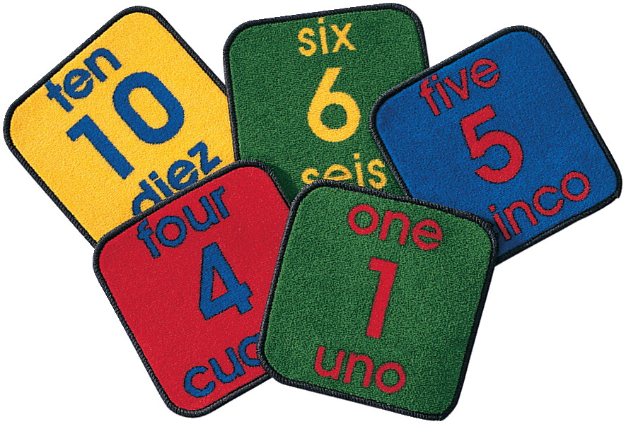 Carpets For Kids Bilingual Number Squares Carpet Set, 12 x 12 Inches, Square, Set of 10