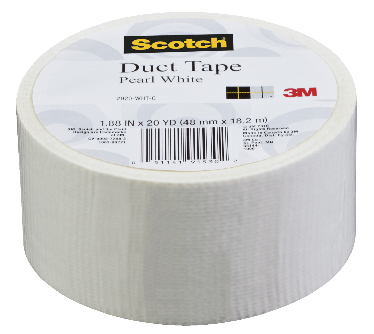 Scotch Duct Tape, 1.88 Inches x 20 Yards, Pearl White
