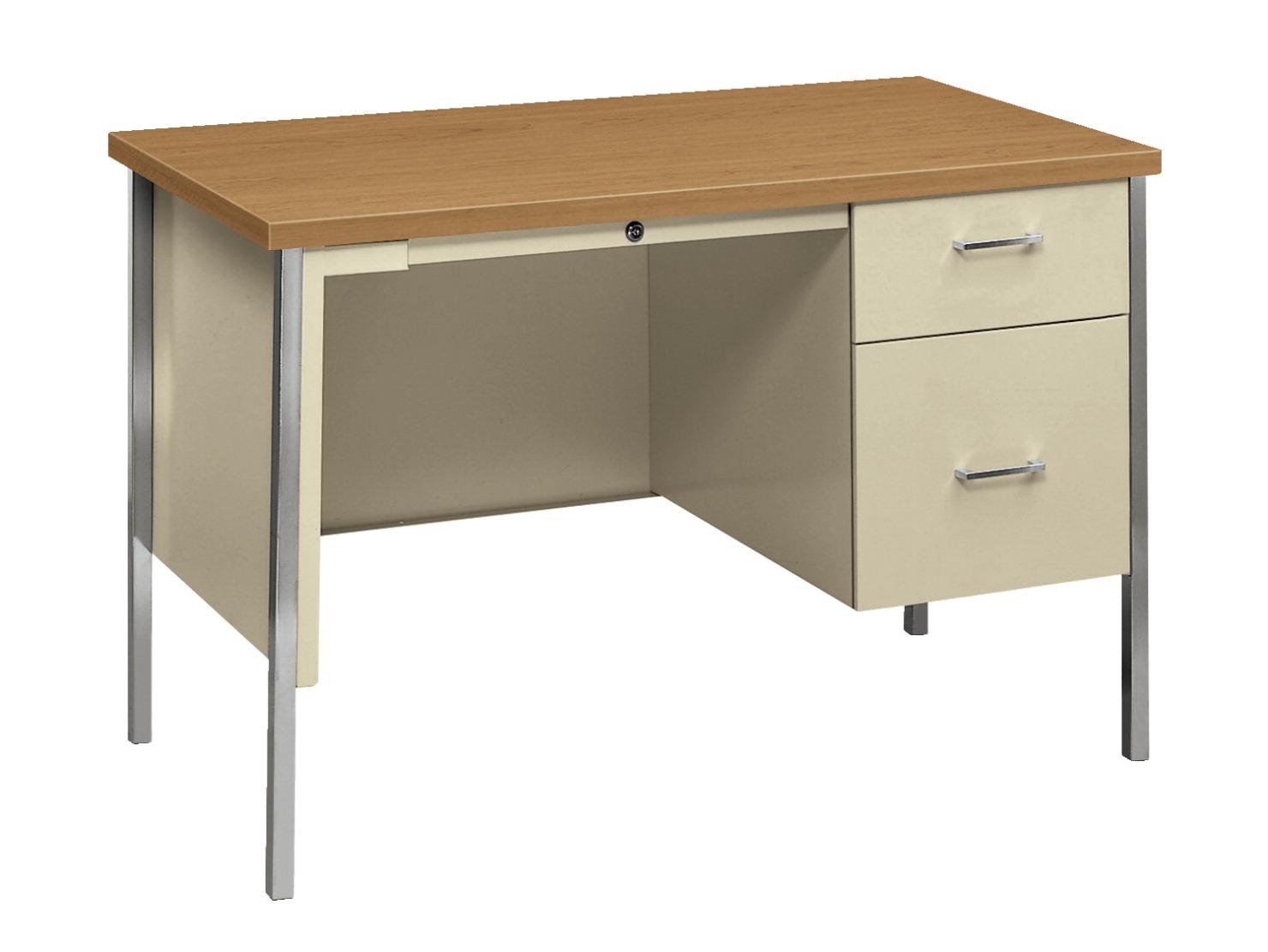 Classroom select pedestal steel desk school specialty canada - Metal office desk ...
