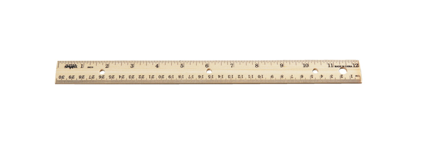 School Smart Double Beveled Edge Wood Ruler - Inch and Metric with (3) Hole Punched for Binder, 12 in L