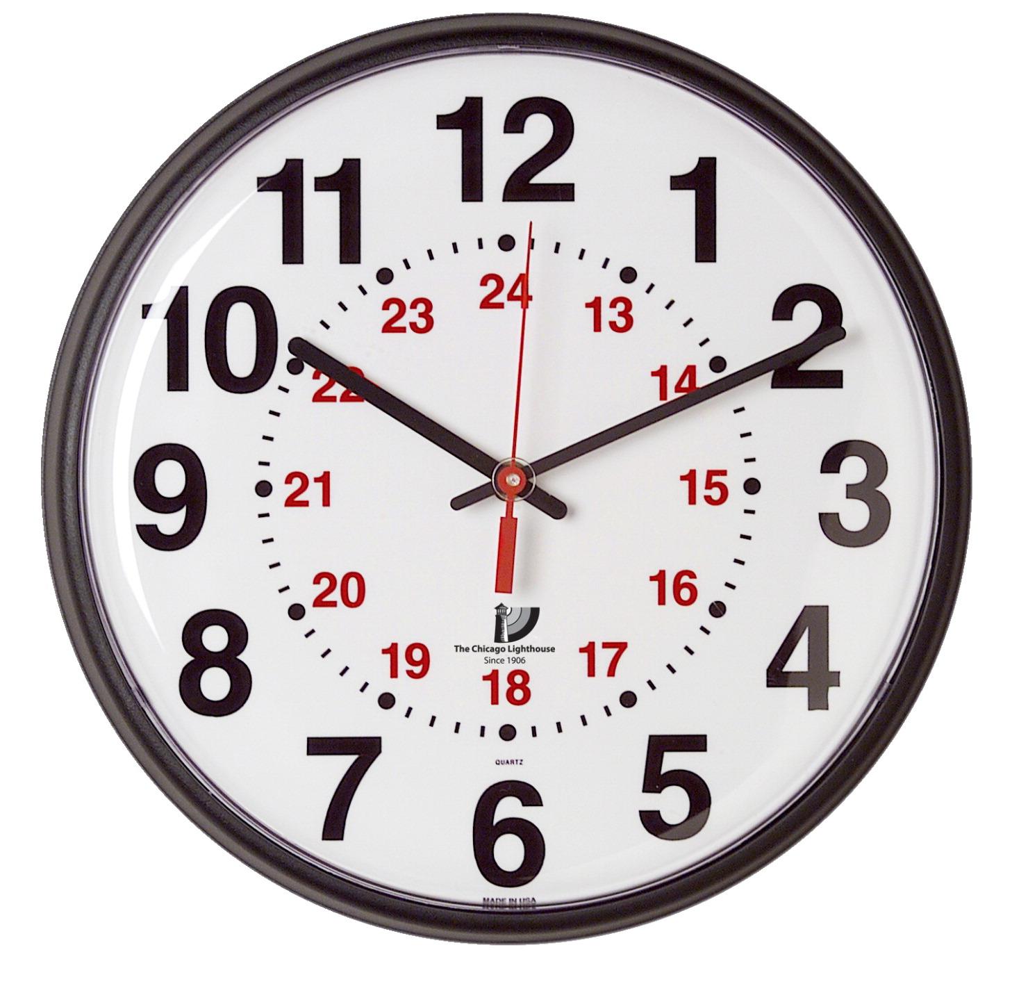 Chicago Lighthouse 12/24 Hour Slimline Clock