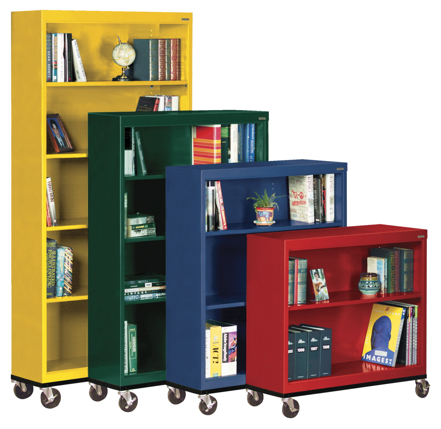 Sandusky Lee Elite 4 Shelf Welded Mobile Bookcase, 36 x 18 x 58 Inches, Various Options