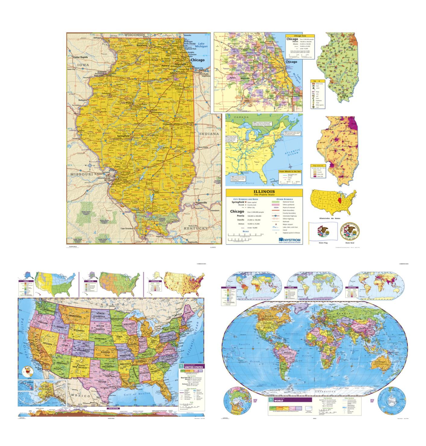Nystrom Social Studies Illinois U S World Map Combo Markable