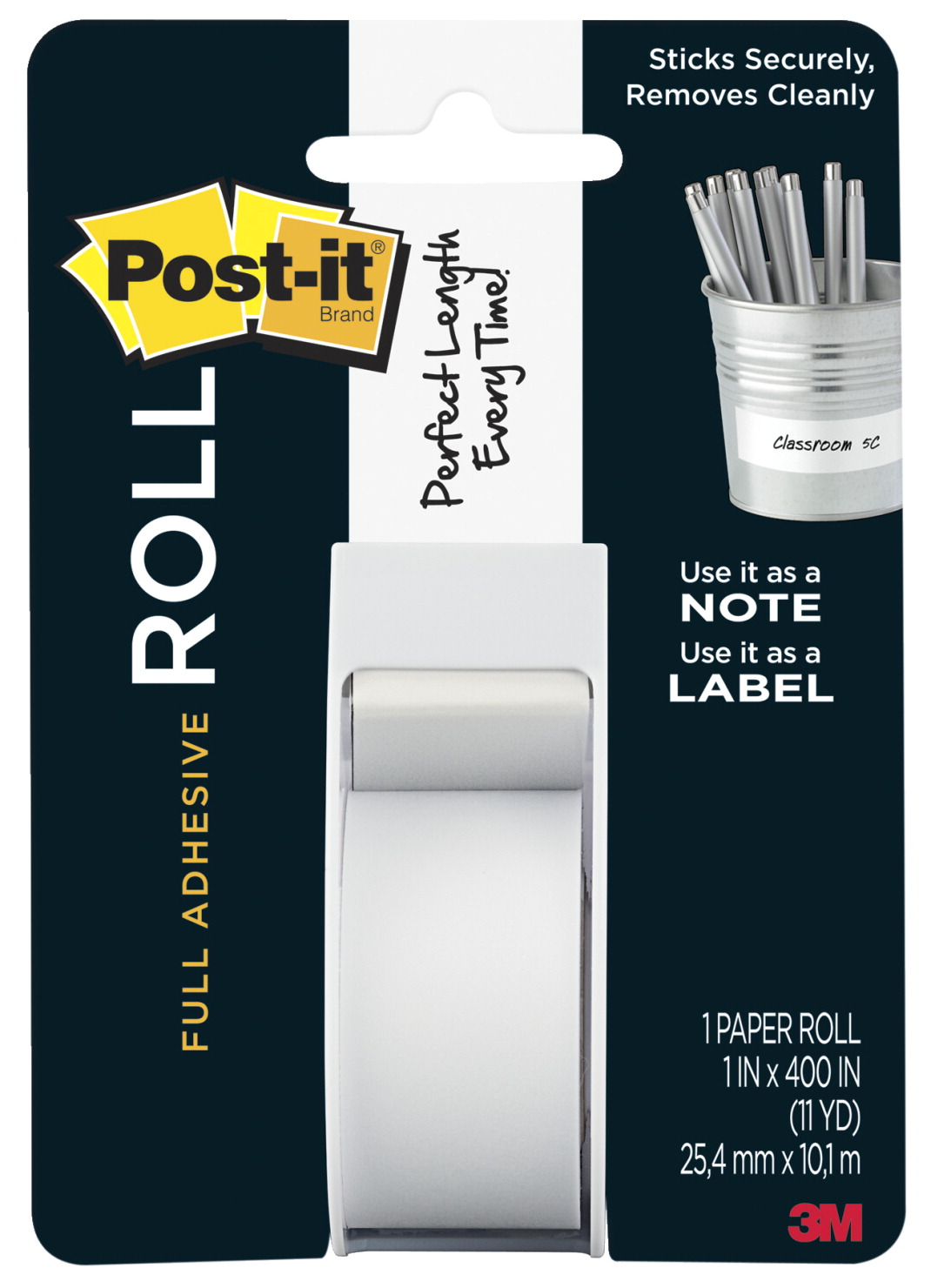 Post-it Full Adhesive Roll, 1 x 400 Inches, White