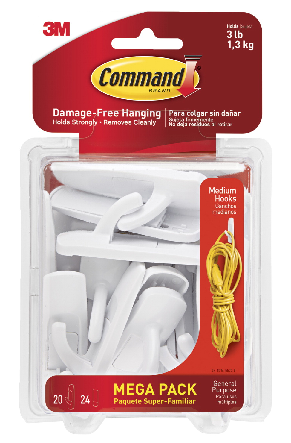 Command Med Utility Hooks And Adhesive Strips White