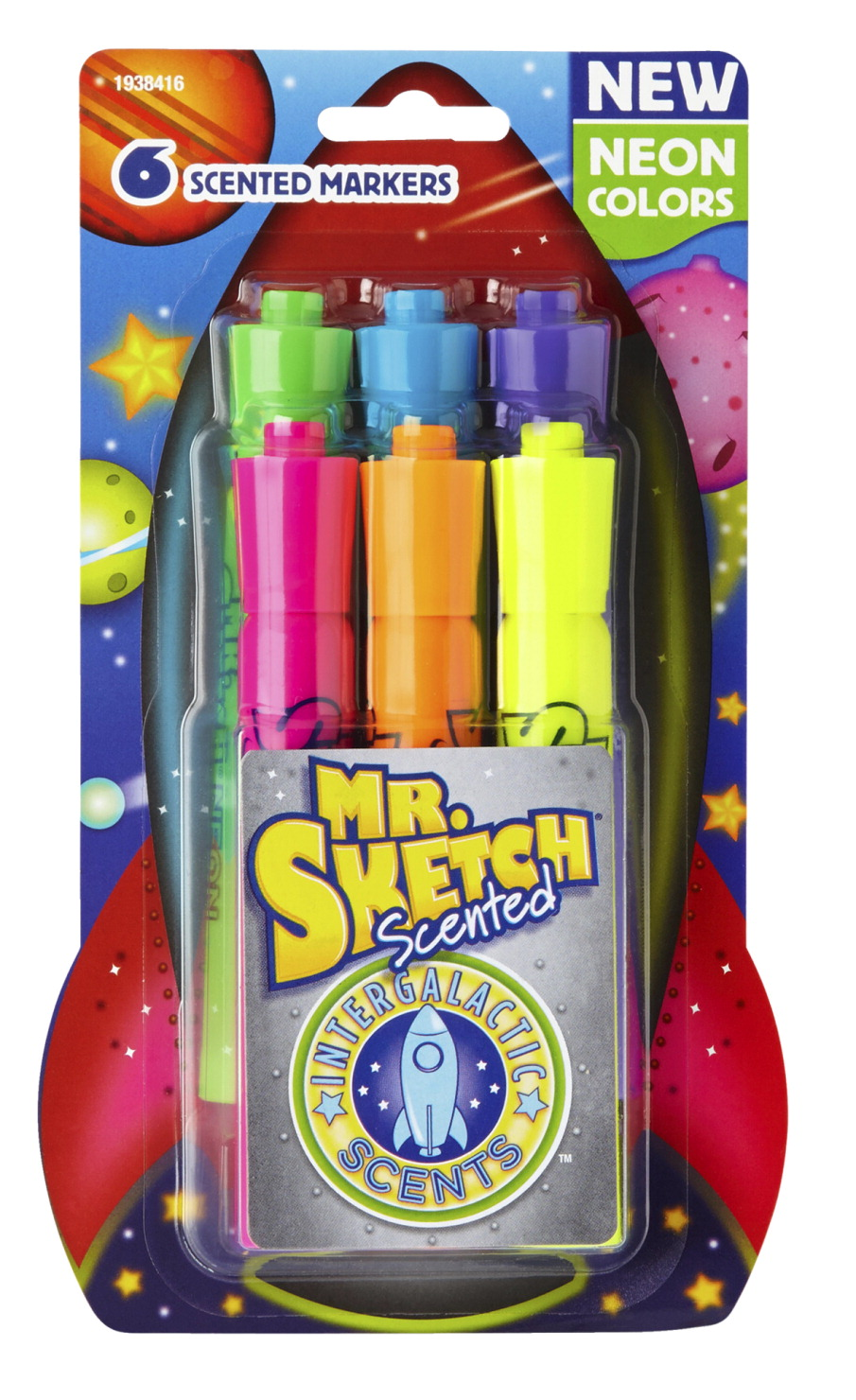 Mr. Sketch Scented Markers, Intergalactic Neon, Chisel Tip, Set of 6