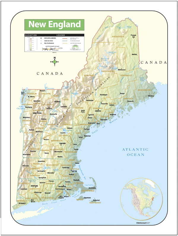 Kappa Map New England Shaded Relief Map, 28 x 38 in - SCHOOL ...