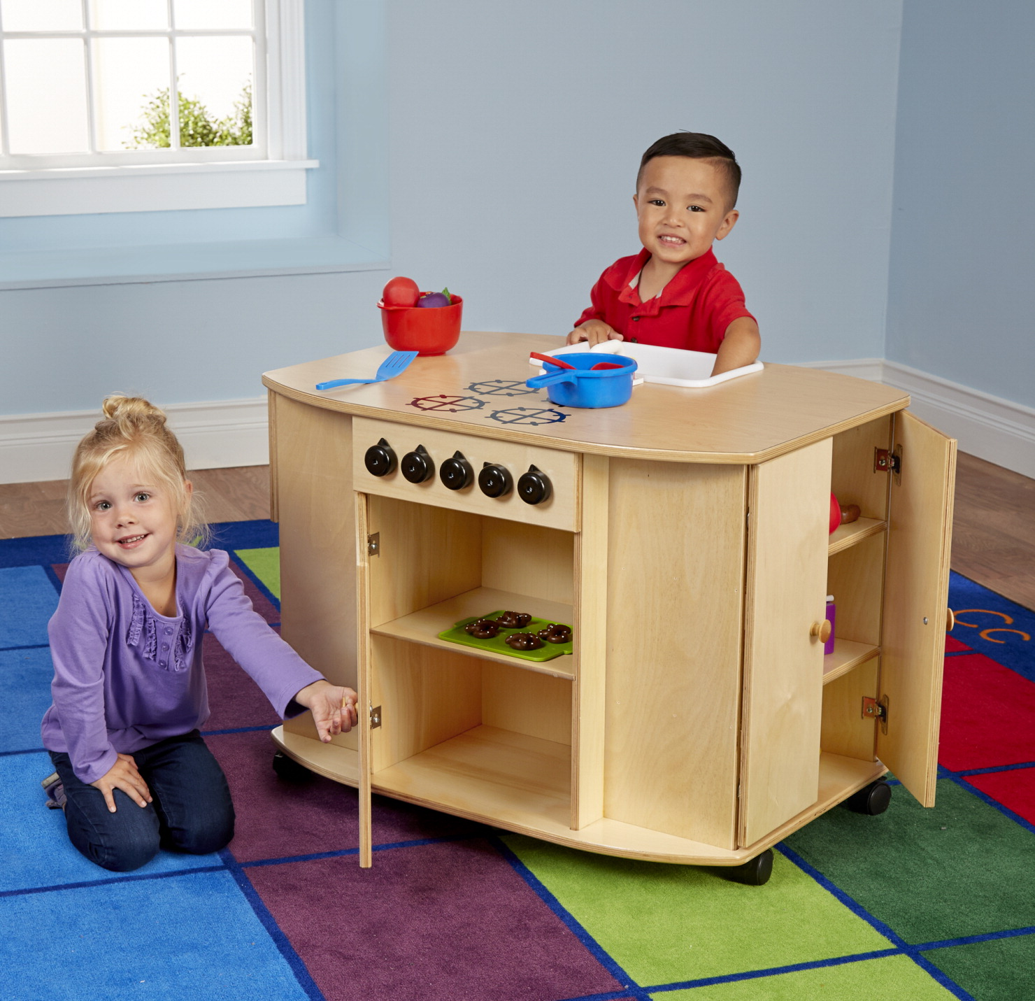 Childcraft mobile compact kitchen island with locking for Child craft play kitchen