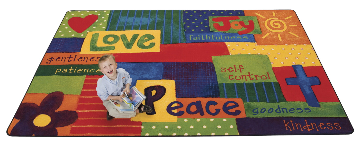 Carpets For Kids Value PLUS Spiritual Fruit Painted Rug, 6 x 9 Feet, Rectangle