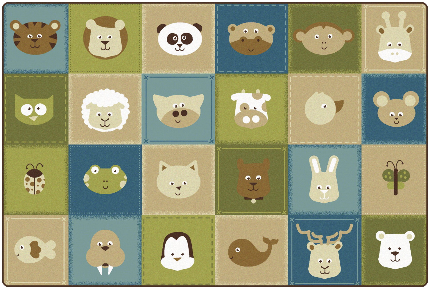 Carpet for Kids KIDSoft Animal Patchwork Carpet, Nature, 6 x 9 Feet