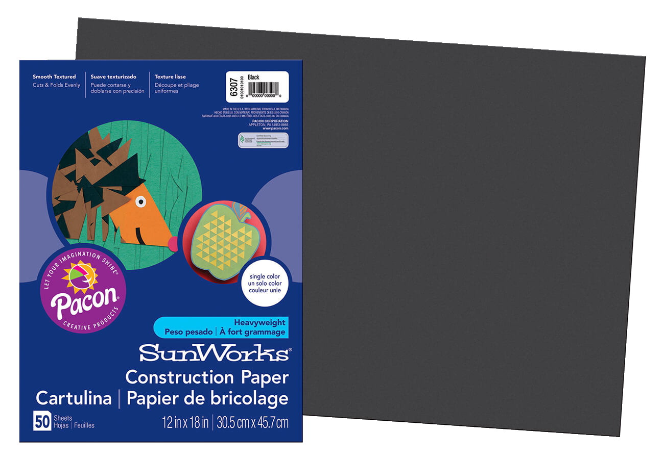 Sunworks Heavyweight Construction Paper 12x18 Inches Black Pack