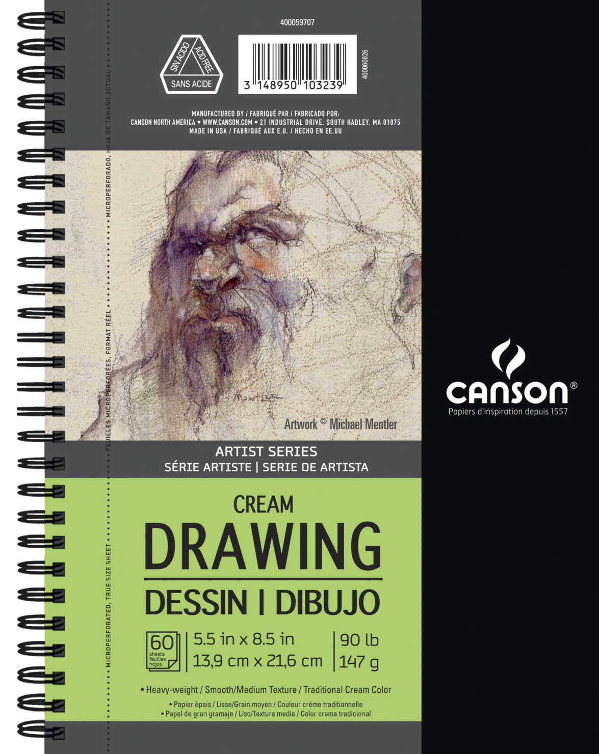Canson Artist Series Drawing Pad, 5-1/2 x 8-1/2 inches, Cream